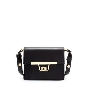 ZARA Black Gold Mini Messenger Bag w/ Clasp